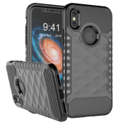 NEEDOON 2 in 1 iPhone X Case Dual Layer Slim Protective Textured Cover Secure Heavy Duty Protection for 5.8