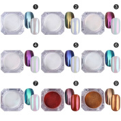 9 Colours Mirror Powder Glitter Nail Beauty Art Pigment DIY Manicure with Brush