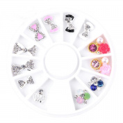 3D Nail Art Decorations Rhinestone 5 Wheel Sets, 3D Colourful Rhombus Rhinestones, Coloured Rhinestones, Sliver Crystal Gemstones, 3D Glitter Rhinestones Charm, Gold And Silver 3D Metal Studs
