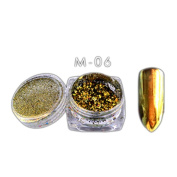 6 Colours Powder Flakes Nail Bling Mirror Shimmer Powder Nail Art Glitter Decoration with Nail Sponge Pen