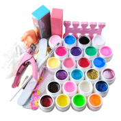 Fashion Gallery Nail Art Kit with 24 Pure Shimmer UV Gel + Brushes