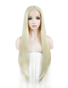 Heat resistant High Bright Bleach Blonde Colour Extra Long Straight Synthetic Lace Front Wigs