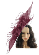 Large 90cm Elisaveta Sinamay, Silk and Feather Ascot Fascinator Hat - With