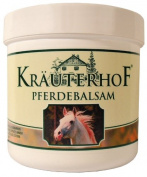 Kräuterhof Horse Balm Cools and Vitalises Precious Herbal Extracts from Horse Chestnut Arnica Rosemary and Mint Oil 250 ml Tub Sealed with Aluminium Foil
