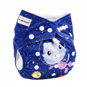 Hi Sprout Baby Reusable Absorbent Positioning Digital Printing Cloth Pocket Nappies,Space Cat