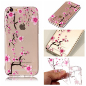 iPhone 6 Case, iPhone 6S Cover, BONROY® Ultra-Thin Transparent Soft Gel TPU Silicone Case For iPhone 6 6S, Perfect Fit Slim Sturdy Bumper Scratch Resist Protective Clear Cute Creative Pattern Case Cover for iPhone 6 6S - Plum Blossom