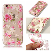 iPhone 6 Case, iPhone 6S Cover, BONROY® Ultra-Thin Transparent Soft Gel TPU Silicone Case For iPhone 6 6S, Perfect Fit Slim Sturdy Bumper Scratch Resist Protective Clear Cute Creative Pattern Case Cover for iPhone 6 6S - Peony
