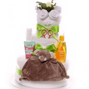 Nappy Cake neutral with Raff comforter and gift for Mum, 3 tier nappy cake in a unisex theme ideal gift for baby shower or maternity leave fast . .