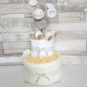 Unisex Neutral Nappy Cake New Baby Hamper Baby shower Gift 2 tiers .