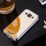Sycode Galaxy J1 2015 Mirror Case,Galaxy J1 2015 Soft TPU Mirror Cover,Luxury TPU Bumper Silicone Case Handy Cover Reflecting Protective Shockproof Cover Mirror Electroplating Technology Backplate Shell For Samsung Galaxy J1 2015-Gold