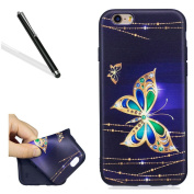 Silicone Case for iPhone 6S,Ultrathin Soft Back Case for iPhone 6,Leeook Cool Black Pretty Gold Butterfly Painted Soft Gel Slim Fit Flexible Scratch-Resistant Rubber Tpu Protective Bumper Back Cover Case Shell for iPhone 6/6S 12cm + 1 x Free Black Styl ..