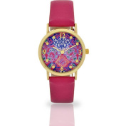 Women's Pink Kaleidoscope Dial Watch, Faux Leather Band