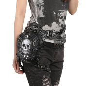 Yiwa Gothic Steam Punk Shoulder Bag Retro Rock Skull Personality Fanny Pack Black PU Leather Women Waist Bags