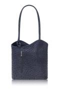 Handbag Ostrich Effect 100% Italian Leather Shoulder Bag Backpack - PM19