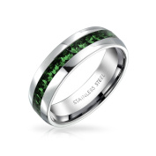 Bling Jewellery Simulated Emerald Crystal May Birthstone Eternity Band Steel