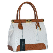 BORDERLINE - 100% Made in Italy - Genuin Ostrich Leather Bag - STEFANIA