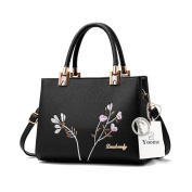 Yoome Embroidery Handbags Top Handle Tote Elegant Bags For Women Casual New Chic Bags Crossbody - Black