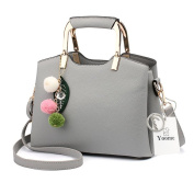 Yoome Plush Balls Pendant Top Handle Tote Elegant Bags For Women Stylish Bags For College Girl - Grey