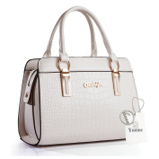 Yoome Crocodile Pattern Top Handle Tote Ladies Purses With Bling Ladies Purse Wallet Casual Bag - White