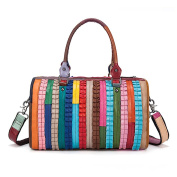 Gendi Women's Colour Stripes Stitching Leather Handbag Designer Satchel Top-Handle Shoulder Bag