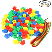 37YIMU Set of 90 Jumbo Colourful beads Tub Education Toys Gifts For Children