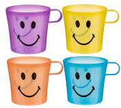 My First Cup Set of 4 Smiley Face Plastic Drinking CupsNumber One Selling Ideal Fun Toys & Games Present Gift Idea for Christmas Xmas Stocking Filler Top Ups Birthdays Easter Rewards Treats Pocket Money - Boy Boys Girl Girls Kids Children Child - One S ..