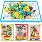 BXT kids DIY Educational Toy Building Blocks Bricks 296 pcs Jigsaw Puzzle Multi Colour Mushroom Nails Pegboard Manual Science and Education Toys Birthday Christmas Gift for Children