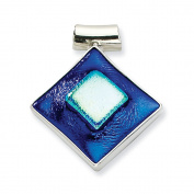 Sterling Silver Blue Dichroic Glass Diamond Shaped Pendant