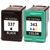 AideMeng Remanufactured Ink Cartridges Replacement for HP 337 343 Compatible for use with HP Photosmart 2570 2575 8050 C4180 C4190 D5160 Printers