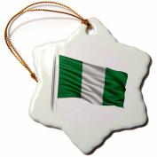 3dRose Flag of Nigeria on a flag pole over white Nigerian, Snowflake Ornament, Porcelain, 7.6cm