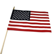 2 Ct Usa American 30cm x 46cm Flag on 60cm Wooden Stick