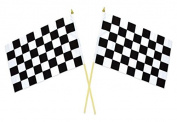 2 Ct Chequered 30cm x 46cm Nascar Racing Flag on 60cm Wooden Stick