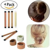 4 Pack Magic Hair Styling Disc Donut Bun Maker Former Foam French Twist Hairstyle Clip Fashion DIY Doughnuts Hair Bun Making Curler Roller Tool, DAXUN Hair Band Accessory