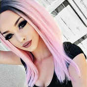 MZP T1B/Pink Lace Front Wig Synthetic Ombre Straight Hair for Woman Heat Resistant Fibre Hair Wig , pink