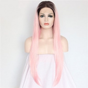MZP Fashion Long Straight Synthetic Lace Front Wigs Glueless 1b/pink Colour Wig , blushing pink