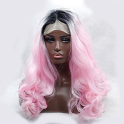 MZP 2016 Hot Sale Two Colour Heat Resistant Synthetic Wig Curl Black To Pink Ombre Synthetic Lace Front Wigs for Women , pink