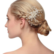 Lisianthus002 Bridal Silvery Wedding Hair Comb with Pearls and Rhinestones