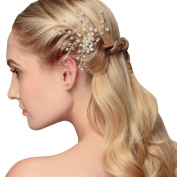 Lisianthus002 Bridal Silvery Wedding Hair Comb with Pearls and Beads