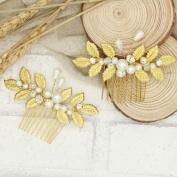 Handmadejewelrylady Bridal Leaves Hair Comb Gold Flowers Rhinestone Crystals Wedding Hair Accessories Bride Bridal Floral Hair Comb Head Pieces Hair Clips Pins Jewellery