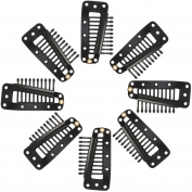 Pangda 50 Pack Black 10-Teeth Snap-Combing Wig Clips for Hair Extension
