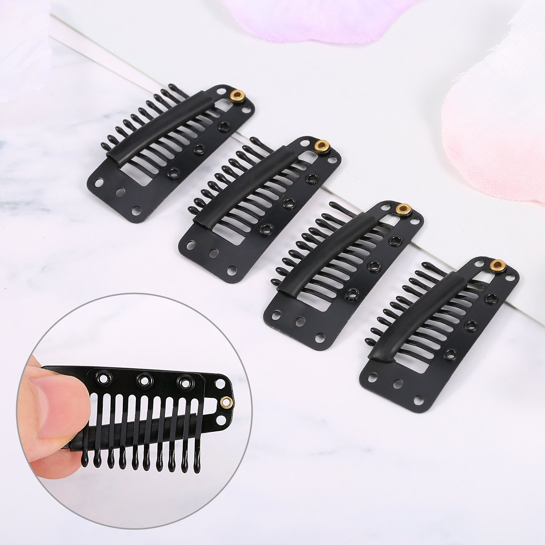 Tecunite 100 Pieces Black 9 Teeth Wig Snap Clips Metal Comb Wig Clip