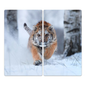 Glass Hob Cover with Dots Decorative Glass Set of 2 Two Piece Straight Cutting Board Splash Guard Design Siberian Tiger, Zweiteilig gerade