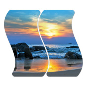 Glass Hob Cover with Dots Decorative Glass Set of 2 Two Piece Straight Cutting Board Splash Guard Design Sunset Over The Sea, Zweiteilig Welle