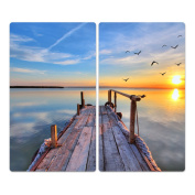 Glass Hob Cover with Dots Decorative Glass Set of 2 Two Piece Straight Cutting Board Splash Guard Design Flying By The Lake, Zweiteilig gerade