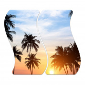 Glass Hob Cover with Dots Decorative Glass Set of 2 Two Piece Straight Cutting Board Splash Guard Design Palm Tree Silhouettes, Zweiteilig Welle