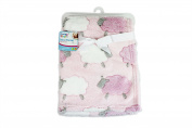 """""""First Steps"""" Luxury Soft Fleece Baby Blanket in Cute Pink Sheep Design 75 x 100cm for Babies from Newborn"""