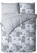 Grey Vintage Patchwork Bedding Duvet Cover Set with Pillowcase (s) Reversible Country Floral Print
