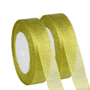 Organza Ribbon,KAKOO 2 Pack 25 Yard 20mm Wide Glitter Trimmings Decorative Ribbons for Gift Wrapping