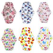 Menstrual Pads, YIGO Washable Sanitary Towel Cloth Enstrual Pads Washable Sanitary Pad Reusable Sanitary Napkin Bamboo Menstrual Pads Postpartum Nursing Pads (6pcs, Size