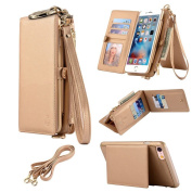 Ticase Exclusive PU Leather Magnetic Wallet Pouch Holster Case Detachable Cover [Shockproof] Flip Cover [Detachable] Case Multifunctional Purse Top Handbag Premium Shoulder Bag Feminine Phone Cover With Lanyard Strap and 12 Card Holders for iPhone 6 Pl ..